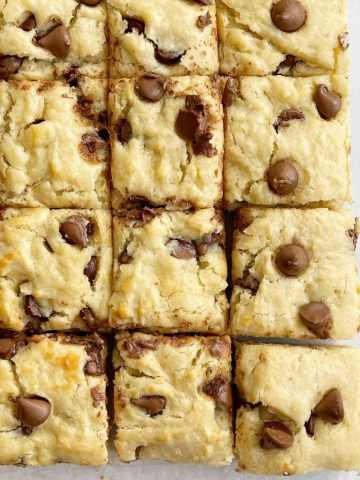 Banana snack bars with milk chocolate chips and mashed banana.