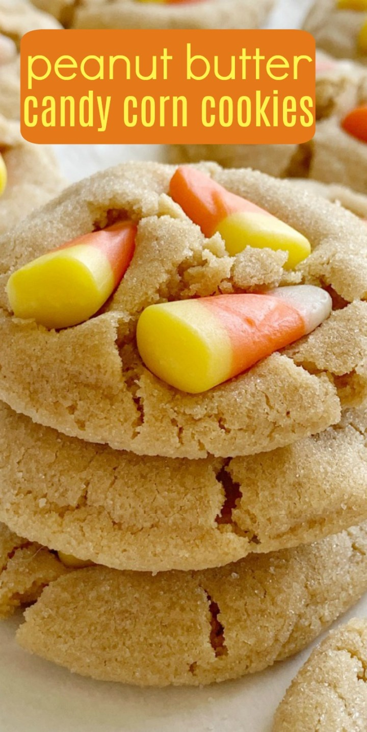 Candy Corn Peanut Butter Cookies | Candy Corn Cookies are a fun and delicious Halloween recipe. Soft-baked sweet peanut butter cookies with candy corn on top! Kids love to help push the candy corn on top the cookies! #halloweenrecipe #halloween #cookies #candycornrecipes #candycorn #cookierecipes #recipeoftheday