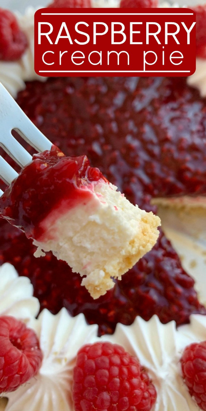 Raspberry Cream Pie | Raspberry Cream Cheese Pie with frozen raspberries | Raspberry Cream Pie has a sweet, cheesecake layer topped by a fresh raspberry layer inside an easy and convenient store-bought graham cracker crust! #thanksgivingrecipes #pierecipes #raspberries #dessertrecipe #raspberrycreampie #recipeoftheday