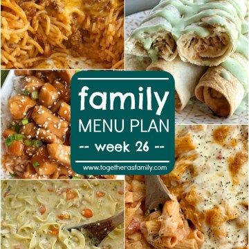 Family Menu Plan - week 26