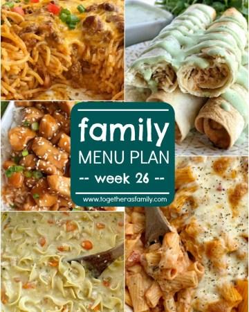 Family Menu Plan - week 26