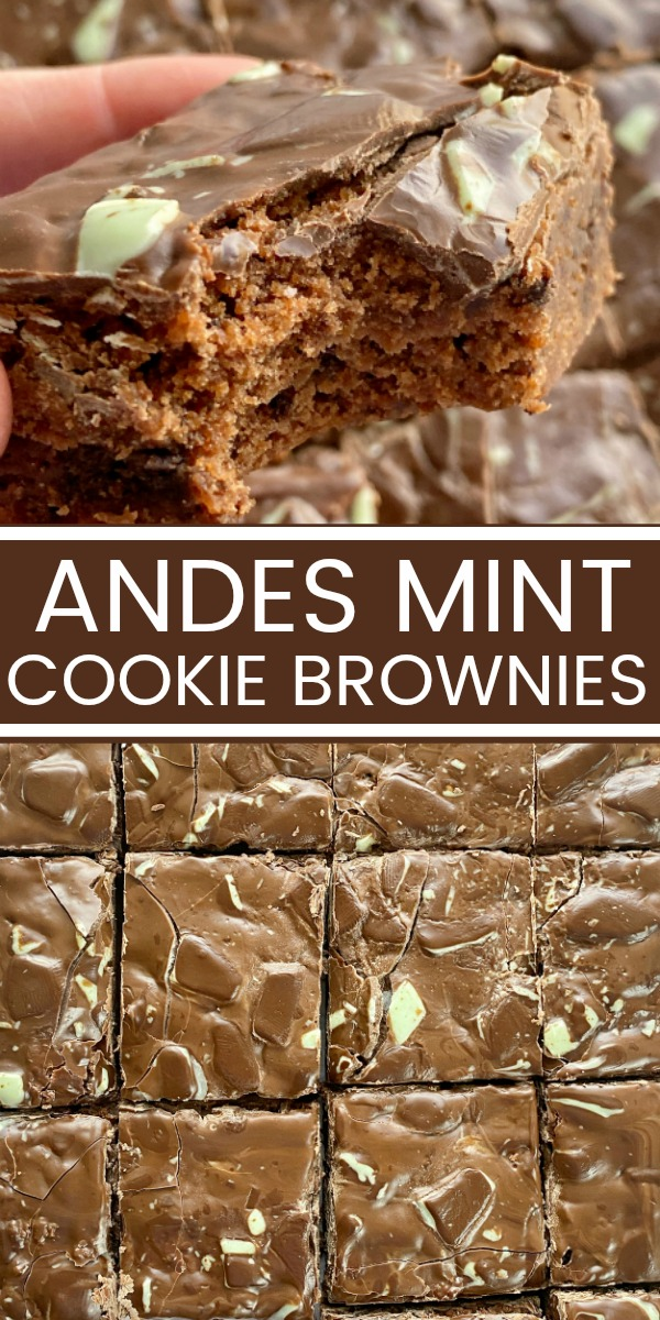 Andes Mint Cookie Brownies have a homemade brownie base filled with mint cookies and the frosting is just melted Andes Mint chocolates! #mintbrownies #brownierecipes #homemadebrownies #mintchocolate #desserts #dessertrecipes #recipeoftheday