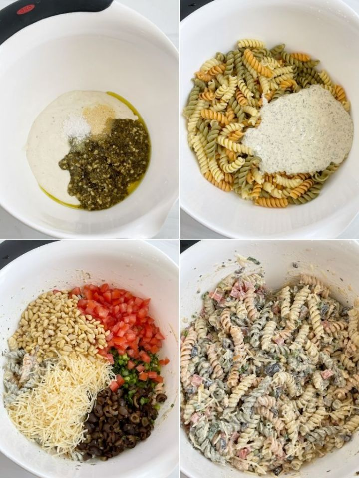 How to make pesto pasta salad with step-by-step pictures in a photo collage.