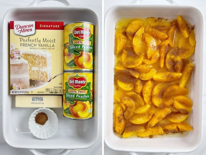 How to make peach dump cake with step by step pictures.