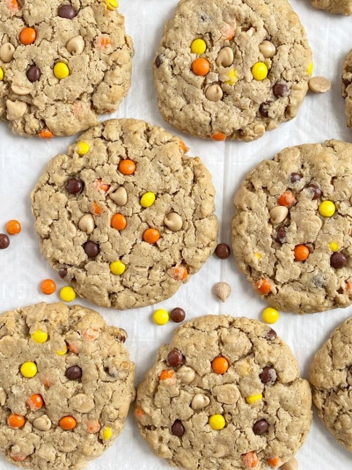 A cookie sheet of cookies with an overhead camera picture of them.