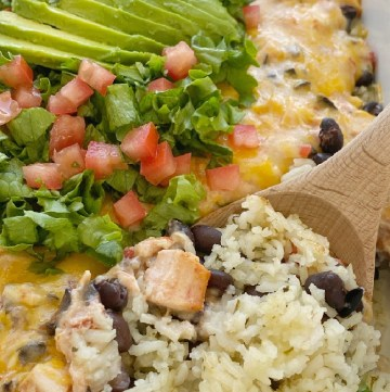 Chicken Enchilada Rice Casserole is a layered dinner with rice, black beans, and a creamy chicken mixture with olives, tomatoes, sour cream, and green enchilada sauce. Topped with cheese for the ultimate chicken enchilada casserole.