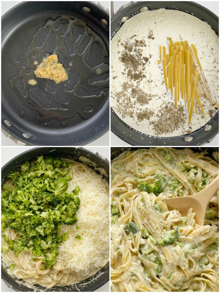 How to make one pot fettuccine alfredo in just 30 minutes. With step-by-step picture instructions.