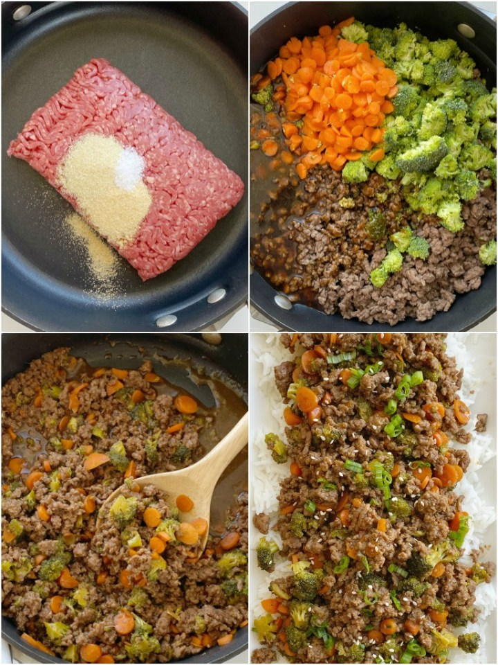 How to make ground beef teriyaki with step-by-step photo instructions.