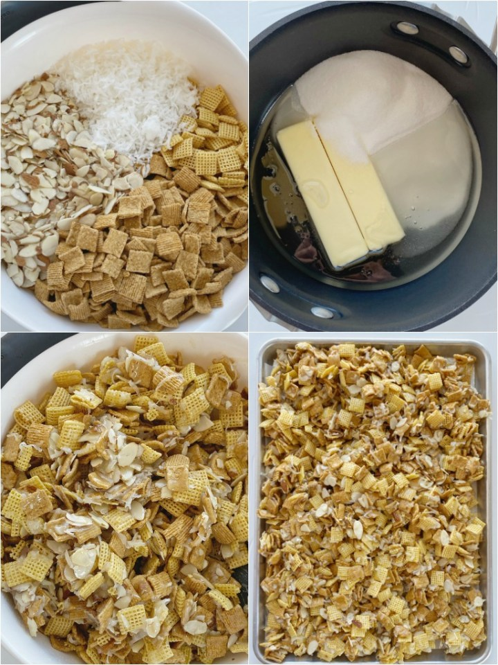 How to make Christmas Chex Mix with step-by-step photo instructions.