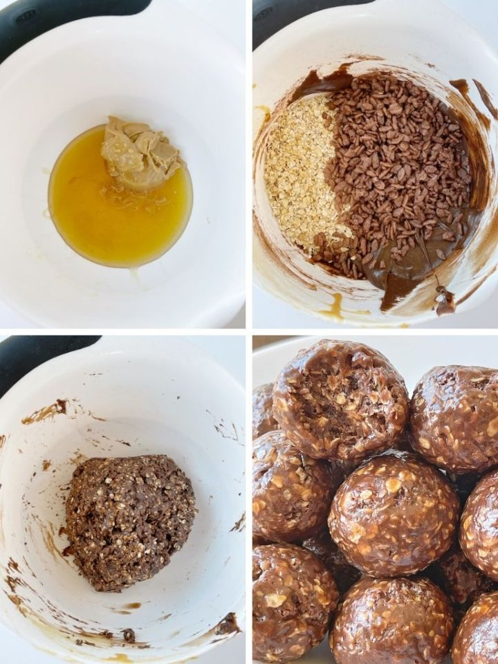 How to make chocolate peanut butter granola bites with step-by-step picture instructions.