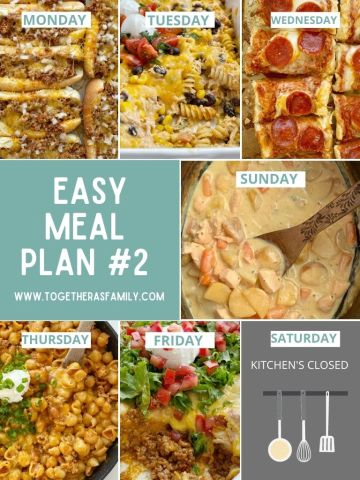 A graphic for easy meal plan for families with a new dinner recipe for each day.