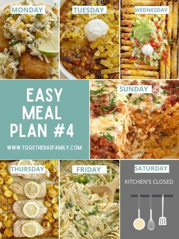 Easy meal plans for families with 6 dinner recipes.