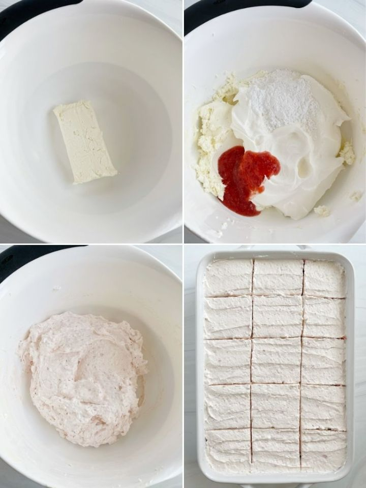 How to frost an easy strawberry cake recipe with step-by-step picture instructions.