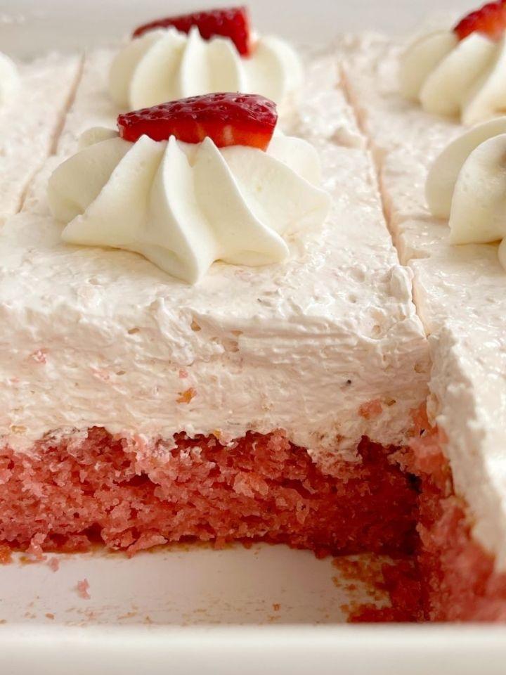 Strawberry cake recipe inside the 9x13 baking pan.