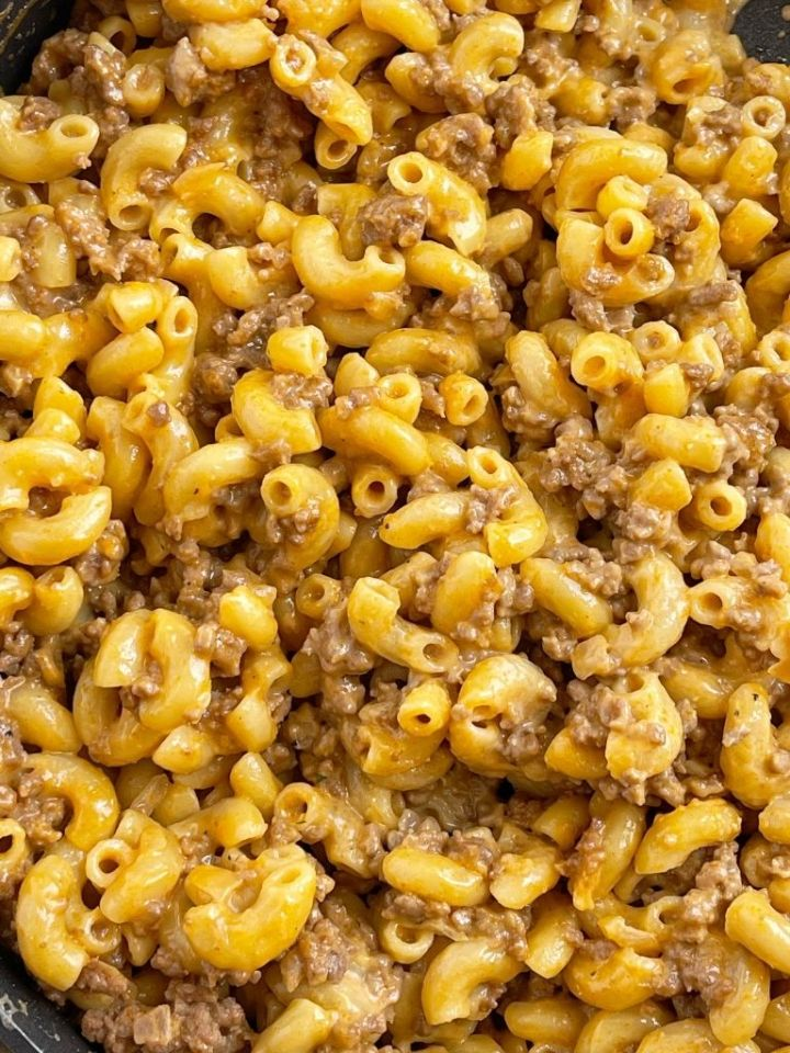 A picture with a close up picture of homemade hamburger helper