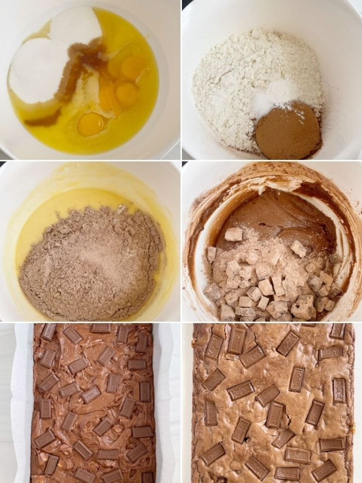 How to make this brownie recipe with pictures of the instructions. This picture shows a collage of 6 pictures.