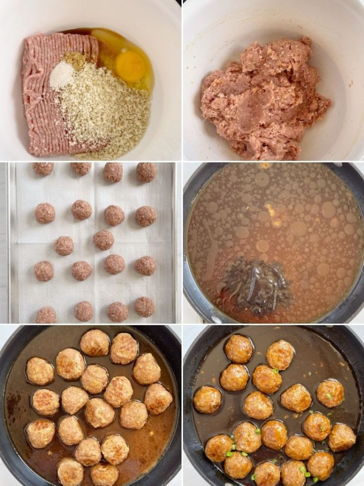 How to make turkey meatballs with 6 pictures in a picture collage.