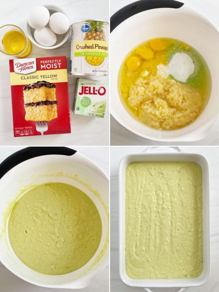 How to make pistachio cake with a 4 picture collage with step-by-step pictures.