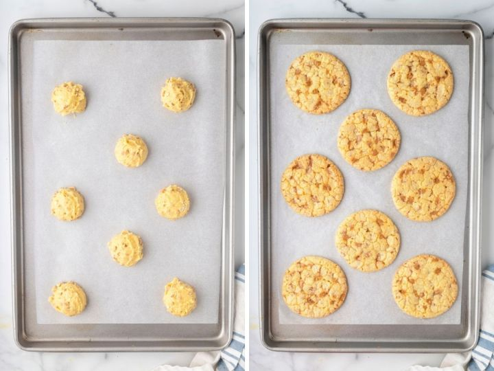 How to make toffee cake mix cookies with a step by step photo collage.