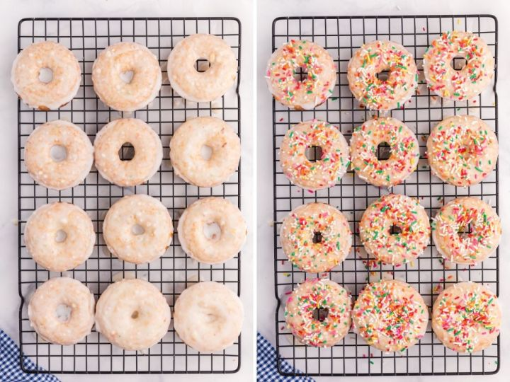 Cooling rack with baked donuts and finished glazed donuts.