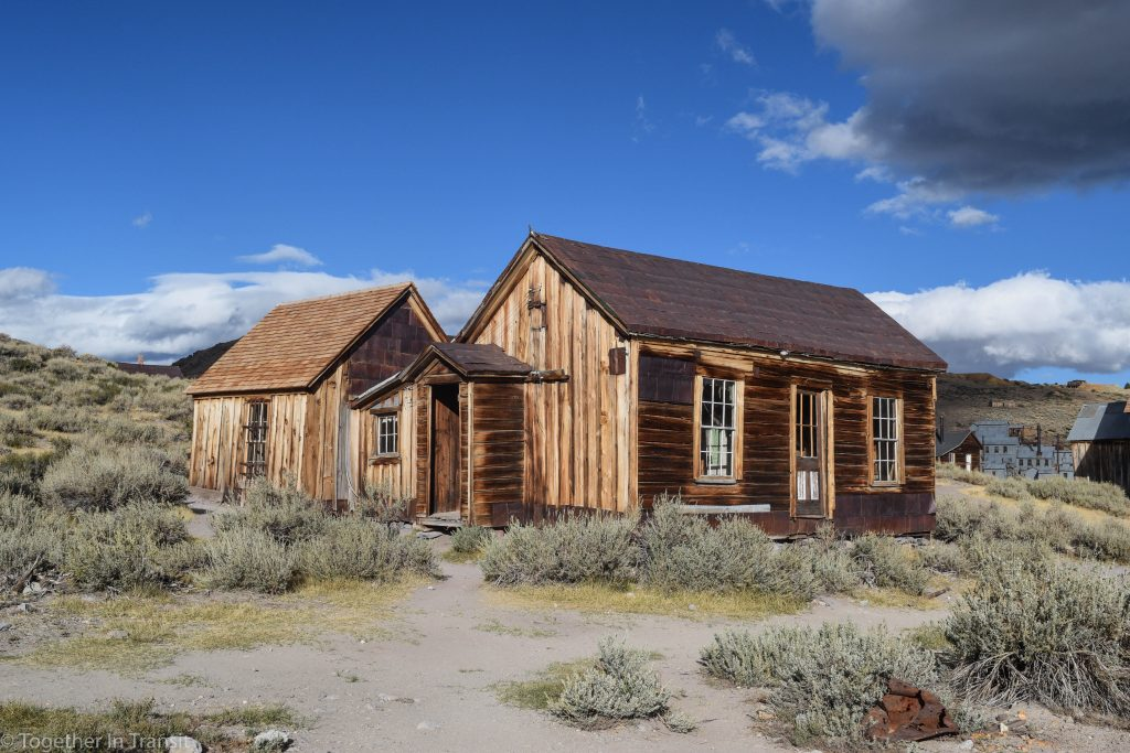 Abandoned houses at the historic ghost town of Bodie State Park in California, US