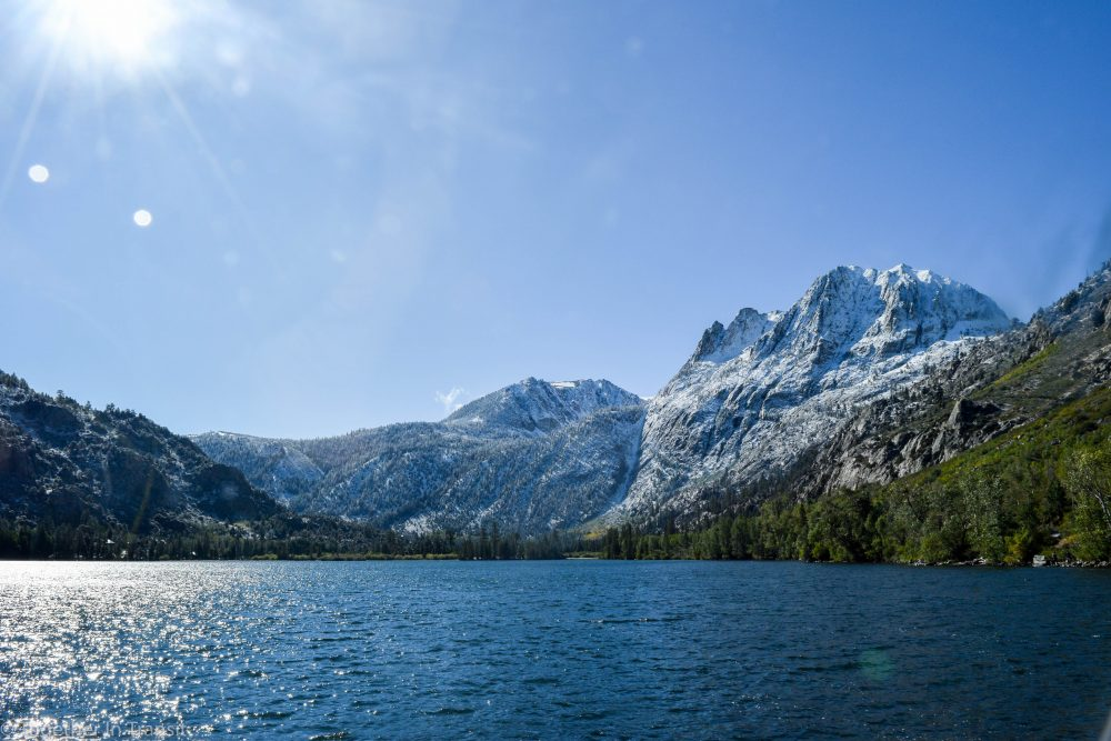 June Lake with snow on the mountains
