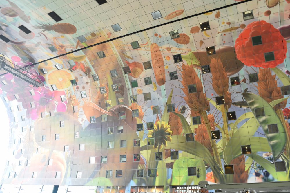 Markthal Rotterdam decoration of the ceiling inside.