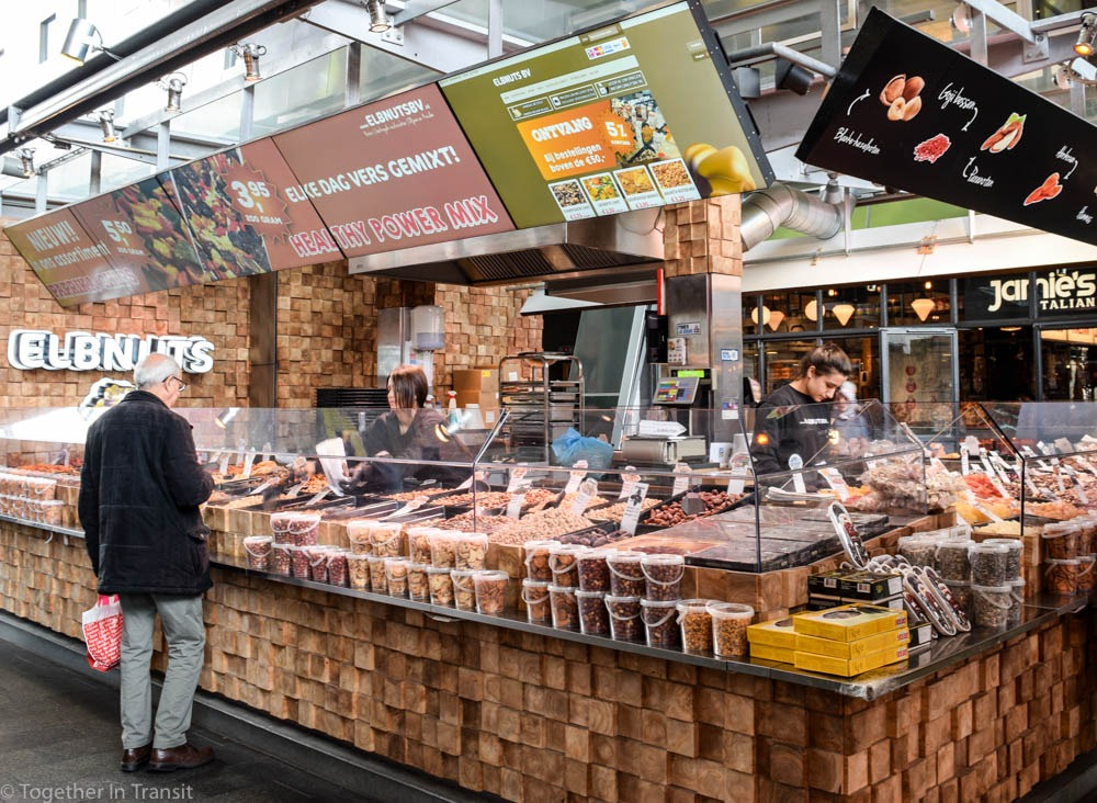 Nuts and Herbs stall at the Markthal Rotterdam