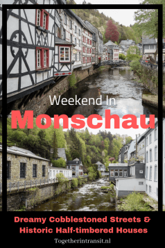 Looking for a pretty Germany city for a weekend away? Why not visit Monschau, a hidden but gorgeous cobblestoned village in the valley, close to Eifel National Park too! Read all about a weekend away to Monschau here at togetherintransit.nl