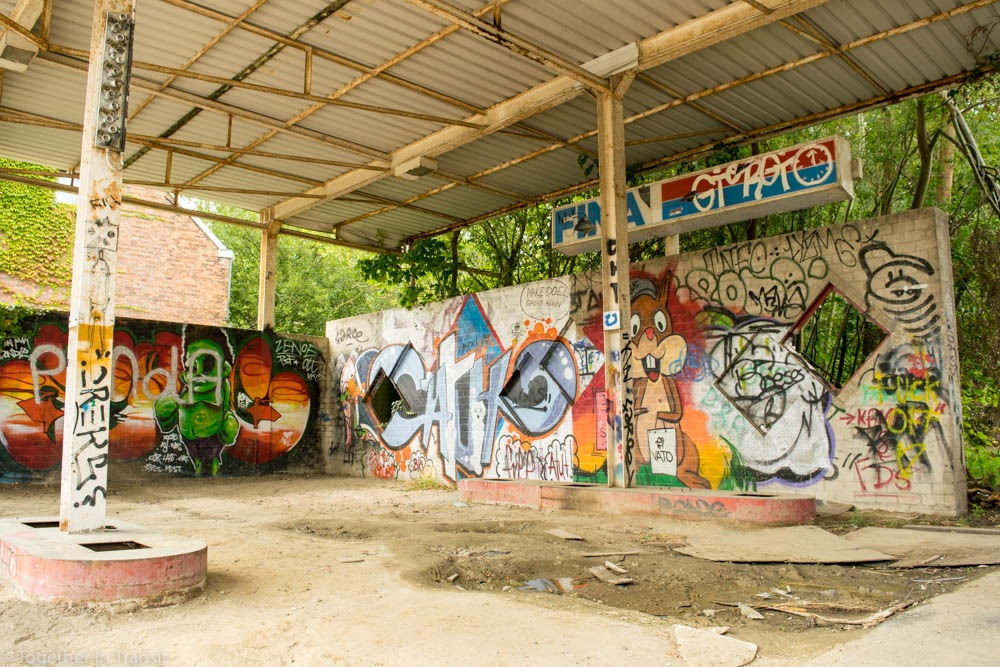 Street art in Abandoned Ghost Town Doel in Belgium