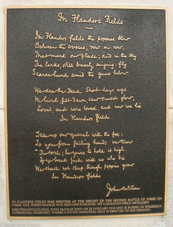 Poem of John McCrae, written in the trenches of WW1