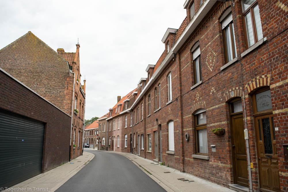 One little quiet street in Ypres, Belgium.