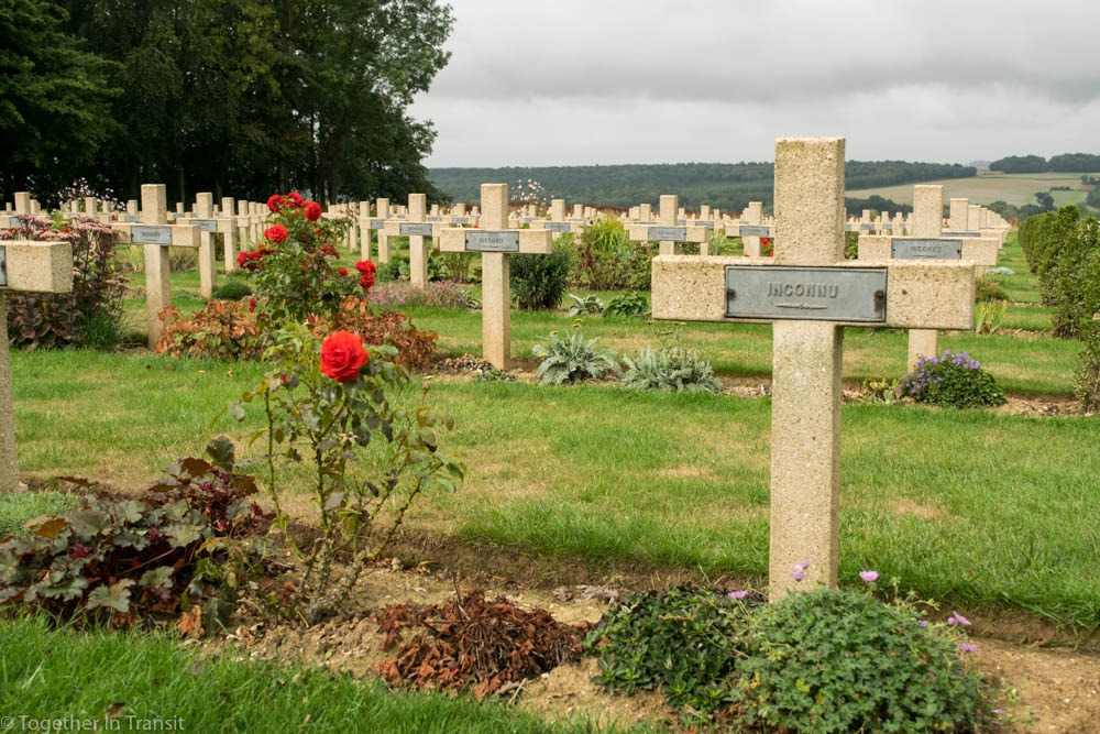 Gravestones at Theipval Memorial in France