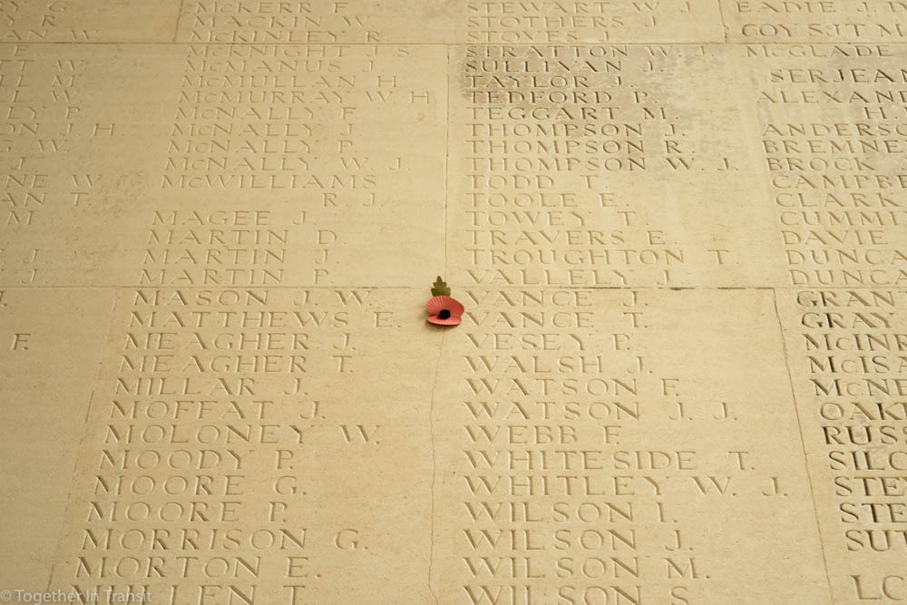 Names at Theipval Memorial in France