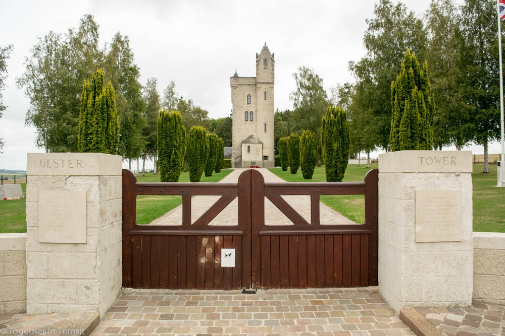 Ulster Memorial Tower close to Albert France, where they have original trenches in the grounds that you can tour privately when open.