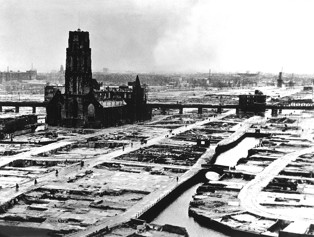 The center of Rotterdam after the bombings of WW2.