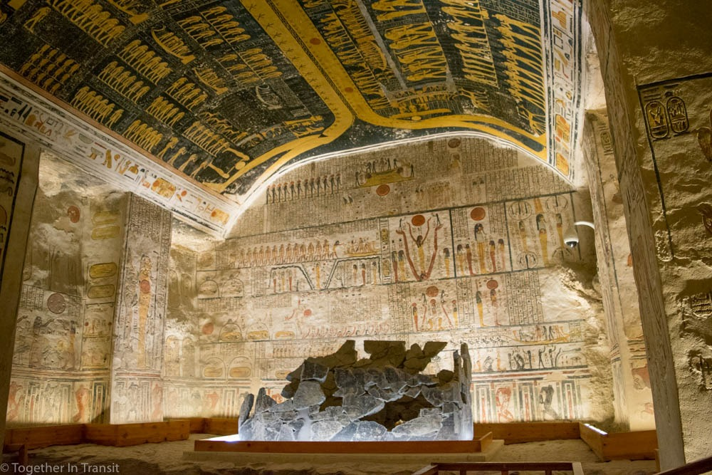 Inside the Tomb of Seti 1 during our vacation to Egypt togetherintransit.nl