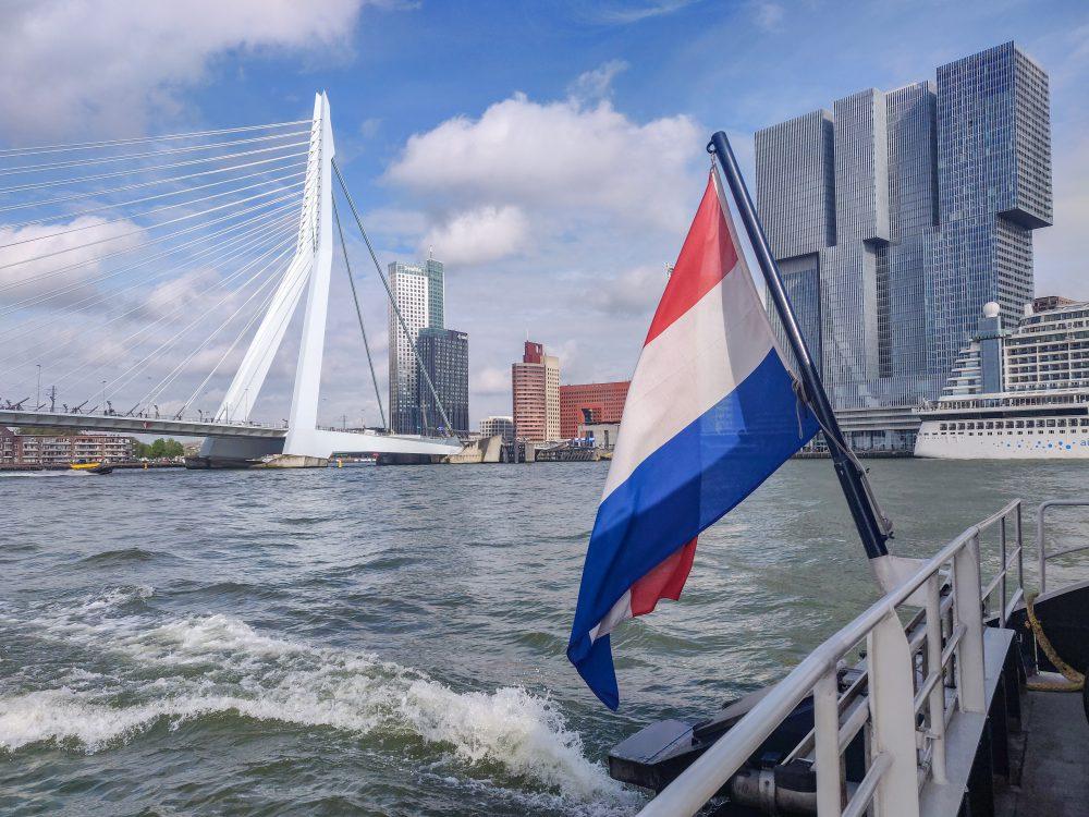 Rotterdam Erasmusbrug with Dutch flag