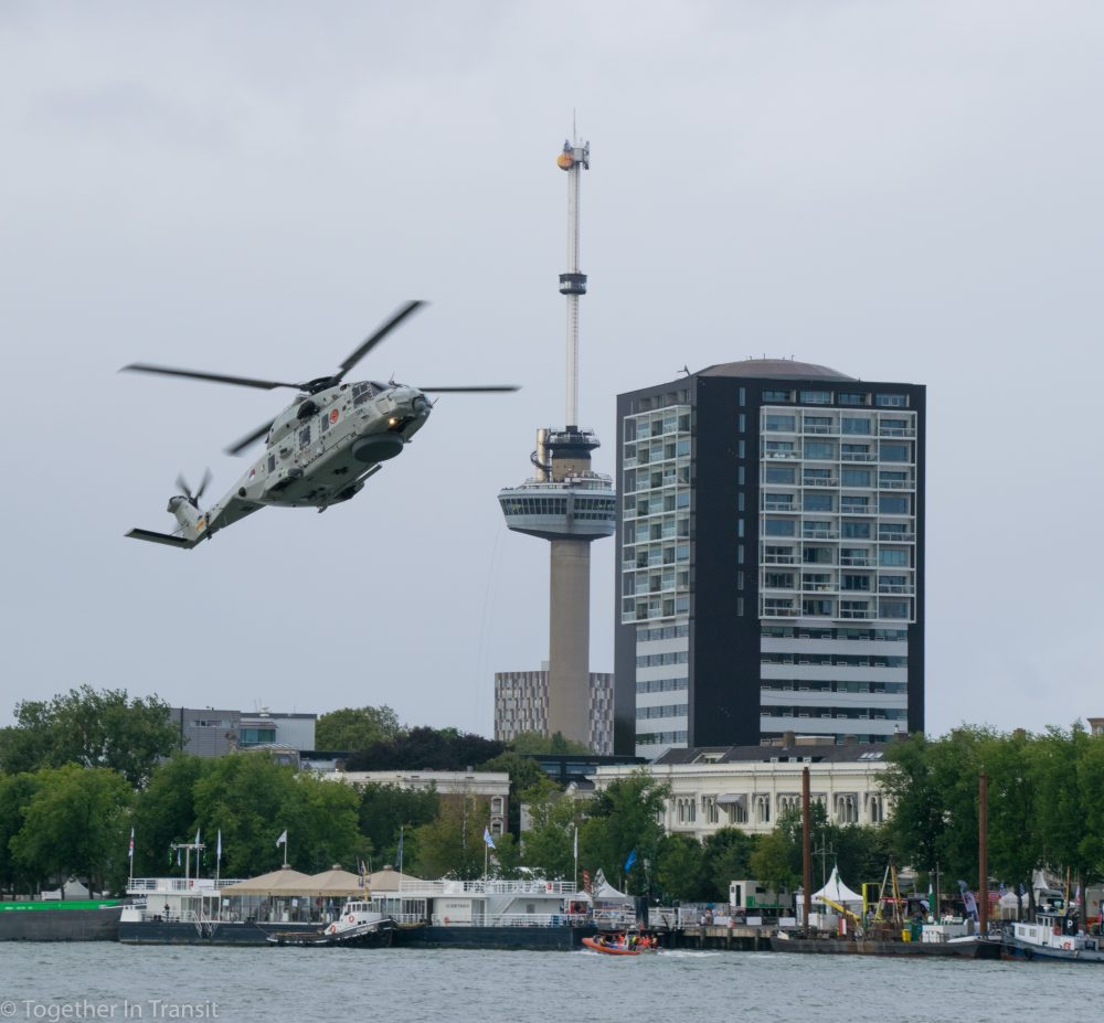 NH90 combat helicopter and the Euromast