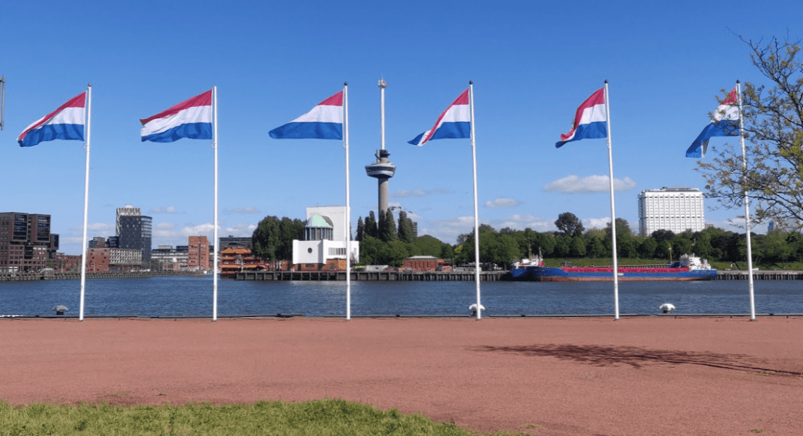 Euromast in Rotterdam with Dutch Flags