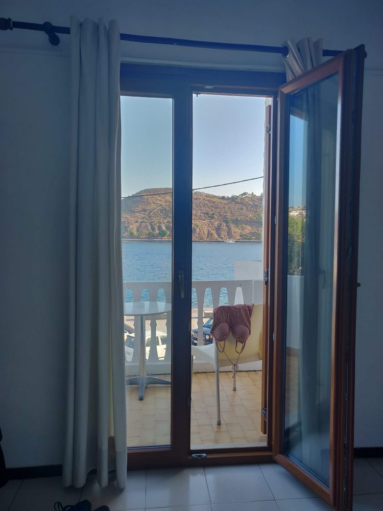 View of the sea from the hotel on Patmos Island in Greece