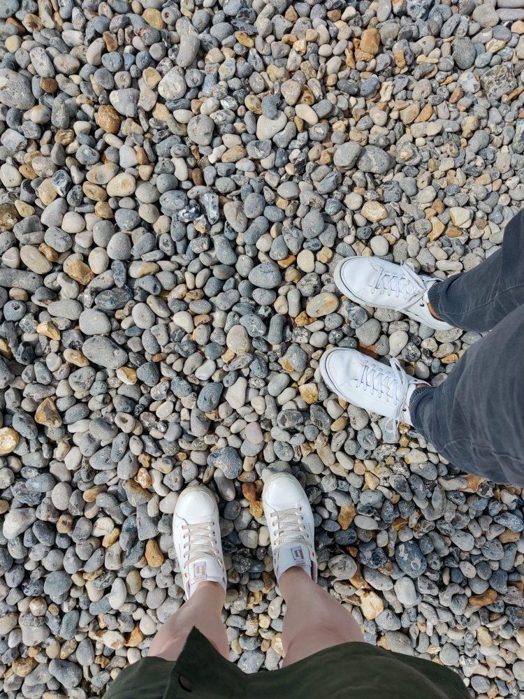 Walking on the stones in Dieppe
