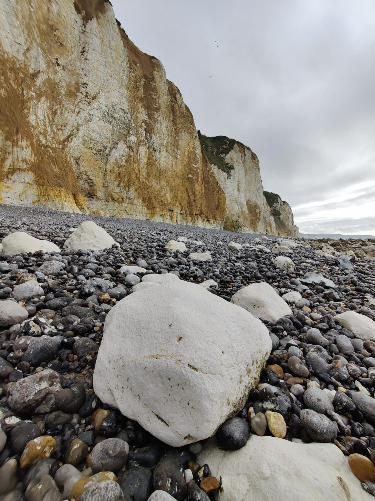 Stones on the normandy beach