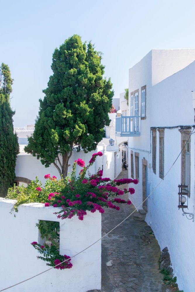 Alleyway in Chora with pink flowers
