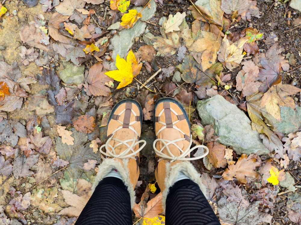 My shoes with the autumn ground