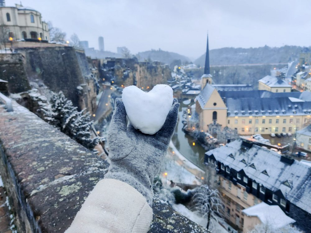 heart shaped snowball with Luxembourg in the background