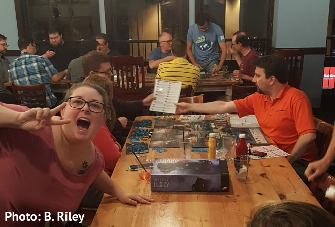 Gamers playing Betrayal Legacy on 11 June 2019