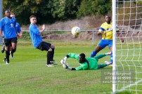15/10/2016. Colliers Wood United v Guildford City. Ibby AKANBI shoots just wide.