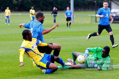 15/10/2016. Colliers Wood United v Guildford City. City's Kyle MARTIN goes in on the keeper