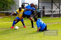 15/10/2016. Colliers Wood United v Guildford City. City's Moses ASHIKODI battles